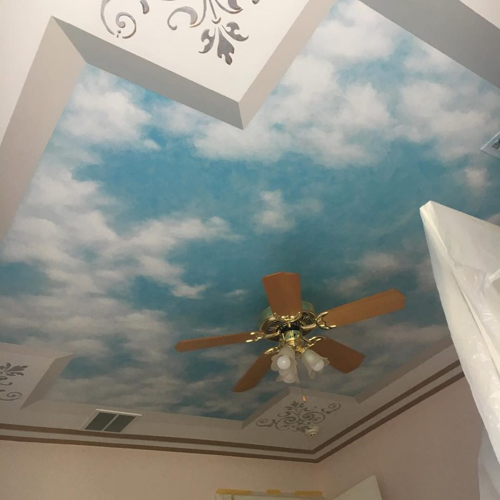 3-d ceiling illusion bedroom mural